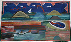 Ginger Riley Munduwalawala Ngukurr, South East Arnhem Land, c.1937-2002 Mara country 1992. Synthetic polymer paint on canvas 244.0 x 244.0 cm Presented through The Art Foundation of Victoria by the artist, Fellow, 1997 National Gallery of Victoria, Melbourne Courtesy of the estate of the artist Ginger Riley and Alcaston Gallery, Melbourne